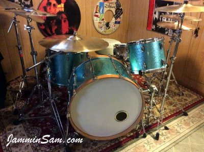 Photo of Gary Poupard's drumset with JS Turquoise Sparkle drum wrap (1)