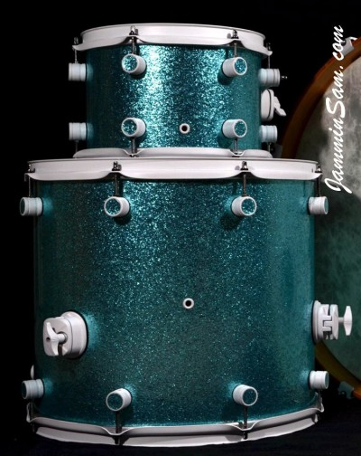 Photo of Kyle Barna's drumset with JS Turquoise Sparkle drum wrap (8)