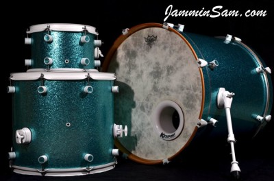 Photo of Kyle Barna's drumset with JS Turquoise Sparkle drum wrap (9)