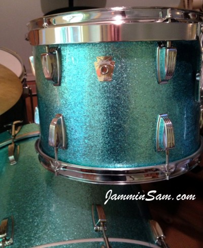 Photo of Martha Lentz's drumset with JS Turquoise Sparkle drum wrap (3)