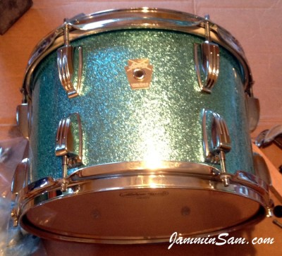 Photo of Martha Lentz's drumset with JS Turquoise Sparkle drum wrap (5)