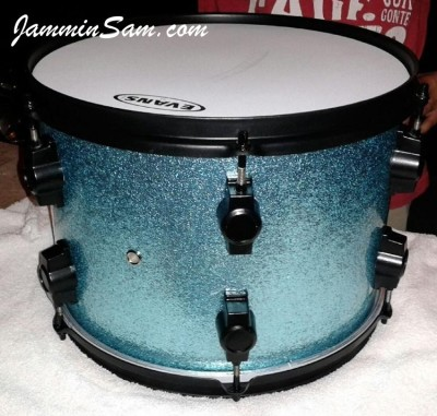Photo of Trent Owen's tom drum with JS Turquoise Sparkle drum wrap (9)