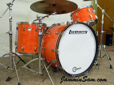 Photo of Dave Humphries' Ludwig drums with Psychedelic Mod Orange drum wrap (1)