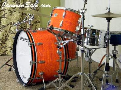 Photo of Dave Humphries'Ludwig drum set with Psychedelic Mod Orange drum wrap (3)