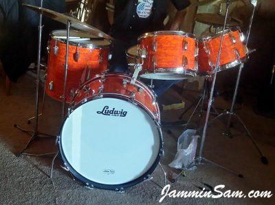 Photo of Jon Glenn's Ludwig drum set with Psychedelic Mod Orange drum wrap (19)