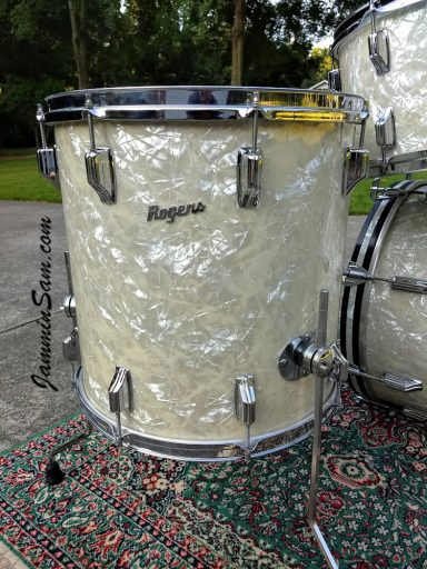 Photo of John Lisenba's 1968 Rogers set of drums with Aged Vintage White Pearl drum wrap (28)