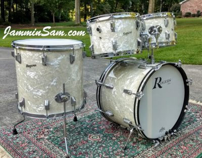 Photo of John Lisenba's 1968 Rogers set of drums with Aged Vintage White Pearl drum wrap (34)