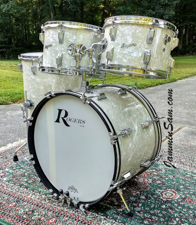 Photo of John Lisenba's 1968 Rogers set of drums with Aged Vintage White Pearl drum wrap (91)
