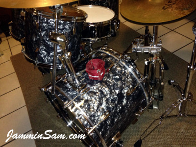 Photo of Blane Taylor's Pearl World series drums with 80's Black Diamond Pearl drum wrap (92)