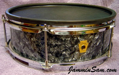 Photo of Wayne VanDenBroeke's Ludwig Pioneer snare e-drum with 80's Black Diamond Pearl drum wrap (1)