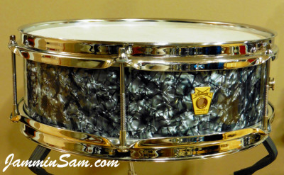 Photo of Wayne VanDenBroeke's Ludwig Pioneer snare e-drum with 80's Black Diamond Pearl drum wrap (2)
