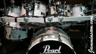 Photo of Jerry Pate's Pearl drumset with Vintage White Pearl drum wrap (4)