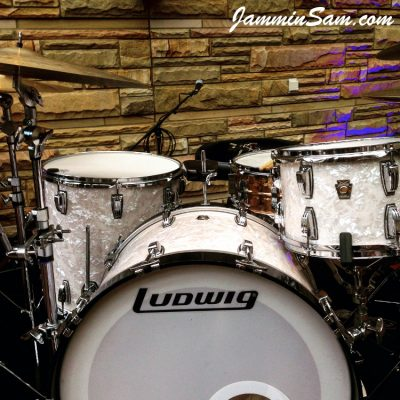 Photo of Nicholas Sainato's Ludwig drums with Vintage White Pearl drum wrap (3)