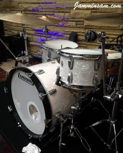 Photo of Nicholas Sainato's Ludwig drums with Vintage White Pearl drum wrap (4)