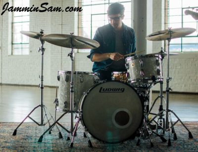 Photo of Nicholas Sainato's Ludwig drums with Vintage White Pearl drum wrap (6)