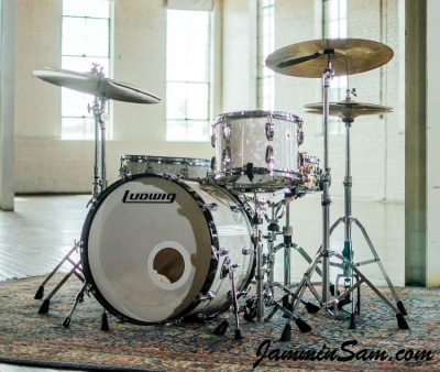 Photo of Nicholas Sainato's Ludwig drums with Vintage White Pearl drum wrap (7)