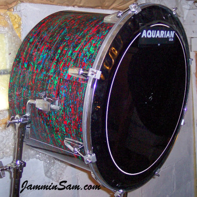 Photo of Anthony Divozzo's overhead tom with Psychedelic Red drum wrap (16)