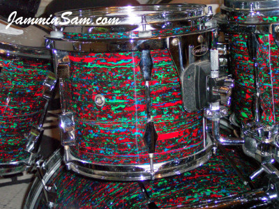 Photo of Anthony Divozzo's tom with Psychedelic Red drum wrap (18)