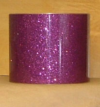 Drum Wrap Material: Example of Purple Glass Glitter on a drum shell also known as crushed glass.
