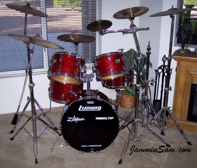 Photo of Scott Burkholder's Ludwig Drums with Red Vintage Sparkle drum wrap 1