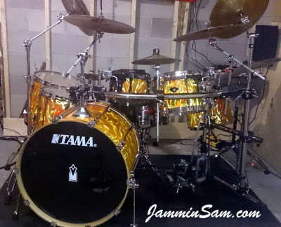 Photo of Jeff Peppin's Rogers set with Fire Orange Satin drum wrap (2)