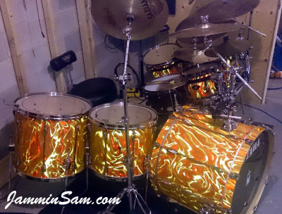Photo of Jeff Peppin's Rogers set with Fire Orange Satin drum wrap (4)