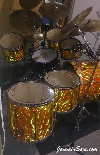 Photo of Jeff Peppin's Rogers set with Fire Orange Satin drum wrap (5)