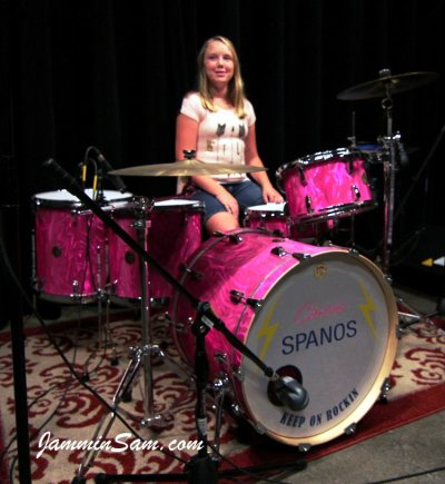 Photo of Cassie Spanos' drums with Neon Pink Satin drum wrap (2)