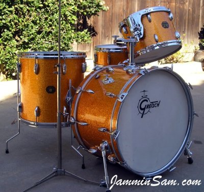 Photo of  Gary Rock's Gretsch drums with Vintage Sparkle Gold drum wrap (2)