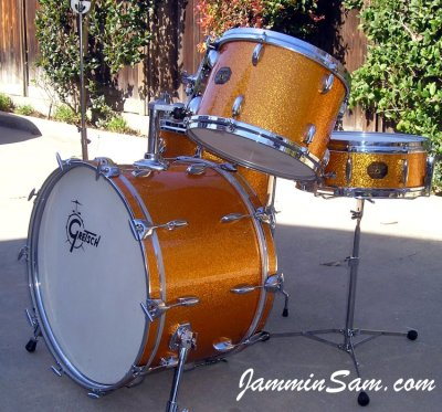 Photo of  Gary Rock's Gretsch drums with Vintage Sparkle Gold drum wrap (4)