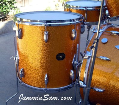 Photo of  Gary Rock's Gretsch drums with Vintage Sparkle Gold drum wrap (6)