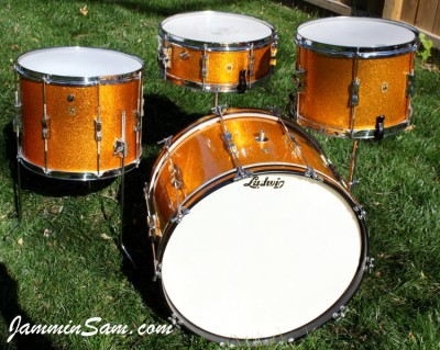 Photo of Randy Houck's Gretsch drums with Vintage Sparkle Gold drum wrap (7)