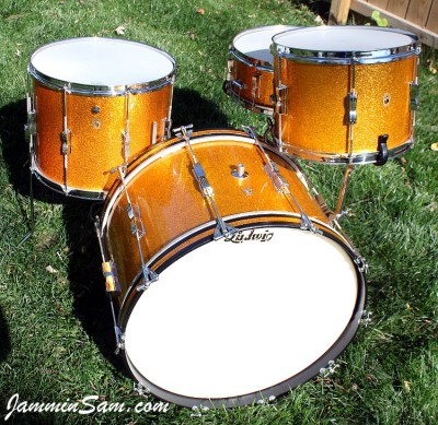 Photo of Randy Houck's Gretsch drums with Vintage Sparkle Gold drum wrap (9)