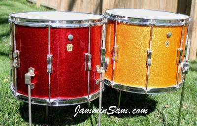 Photo of Randy Houck's Gretsch drums with Vintage Sparkle Gold drum wrap (15)
