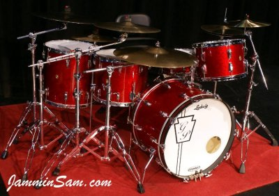 Photo of Geoff Peterkin's Ludwig drum set with Red Vintage Sparkle drum wrap (01)