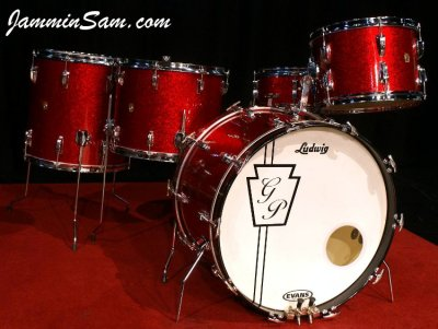 Photo of Geoff Peterkin's Ludwig drum set with Red Vintage Sparkle drum wrap (02)