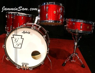 Photo of Geoff Peterkin's Ludwig drum set with Red Vintage Sparkle drum wrap(03)