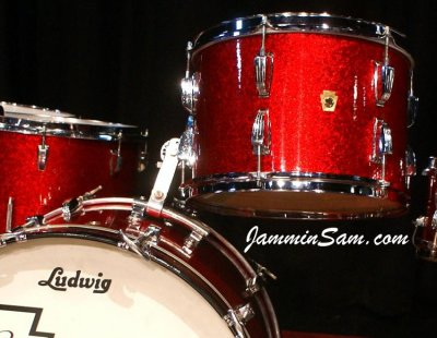Photo of Geoff Peterkin's Ludwig drum set with Red Vintage Sparkle drum wrap (44)