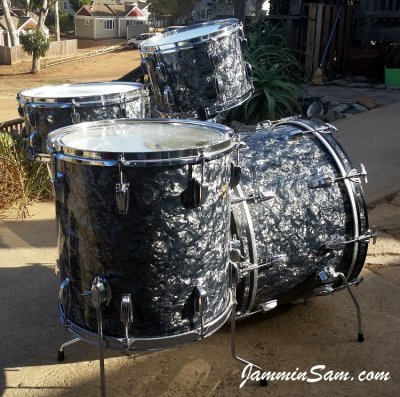 Photo of Ted McDowell's Ludwig drumset with Vintage Black Diamond Pearl drum wrap (2)