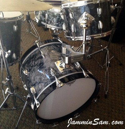 Photo of Tom Polce's drumset with Vintage Black Diamond Pearl drum wrap (1)