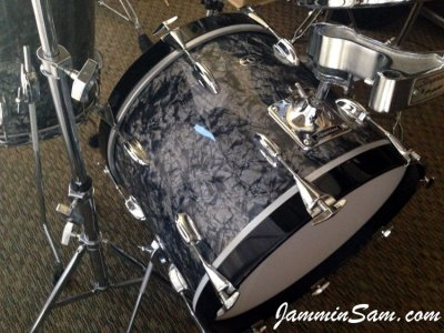 Photo of Tom Polce's Slingerland drums with Vintage Black Diamond Pearl drum wrap (2)