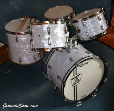 Photo of John Kreimer's drums with Vintage Marine Pearl drum wrap 5