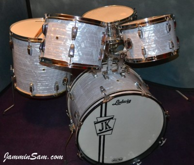 Photo of John Kreimer's Ludwig drums with Vintage Marine Pearl drum wrap 7