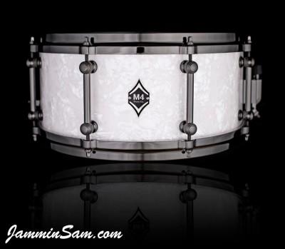 Photo of Matt Miller's custom drum with Vintage Pearl White drum material (65)