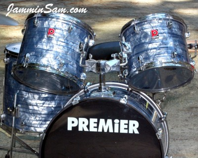 Photo of Mike Host's Premier drums with Vintage Sky Blue Pearl drum wrap (13)