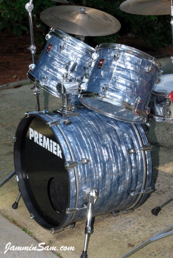 Photo of Mike Host's Premier drums with Vintage Sky Blue Pearl drum wrap (15)