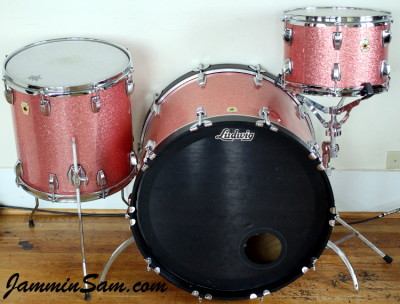 Photo of Adam Kozie's Ludwig drumset with Pink Vintage Sparkle drum wrap (63)