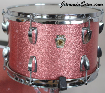 Photo of Adam Kozie's Ludwig tom drum with Pink Vintage Sparkle drum wrap (66)