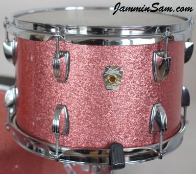 Photo of Adam Kozie's Ludwig tom drum with Pink Vintage Sparkle drum wrap (66)
