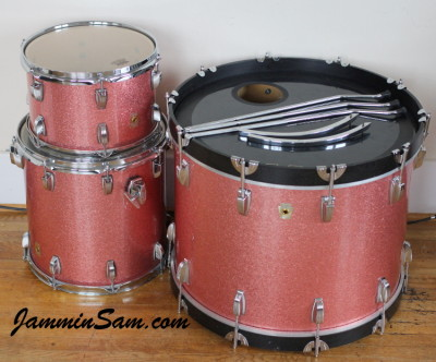 Photo of Adam Kozie's Ludwig drumset with Pink Vintage Sparkle drum wrap (70)